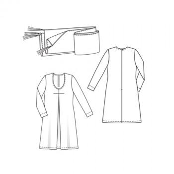 Burda Style | Caftan-like dress and scarf (Plus-Size) 4/2010 #145