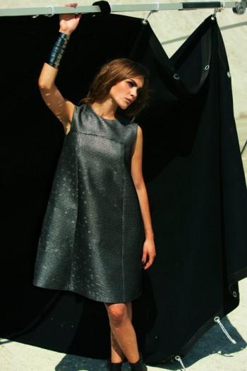 Burda Style | Metallic Tea Length Cap Sleeved Dress 01/2012 #120