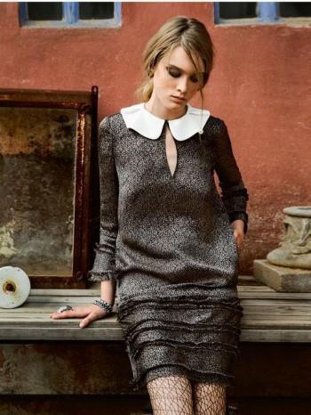 Burda Style   Keyhole Dress with Ruffled Collar 02/2014 #126