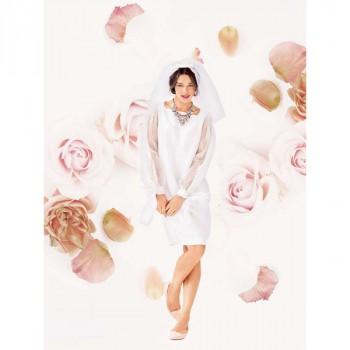 Burda Style   Wedding Dress with Sheer Bow Sleeves 03/2014 #123B
