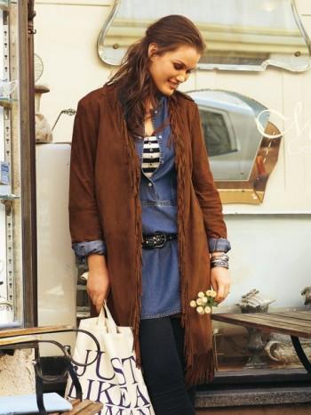Burda Style | Fringed Suede Jacket (Plus Size) 03/2012#129
