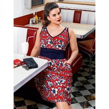 Burda Style | Contrast V Neck Dress (Plus Size) 07/2014#127