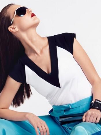 Burda Style | Contrast V Neck Top 07/2014#114