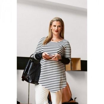 Burda Style | Striped Stretch Asymmetrical Top (Plus-Size) 01/2015#129